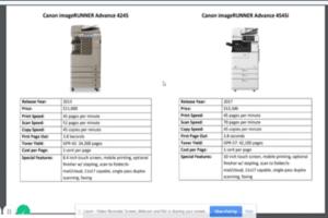 Compare Canon ImageRunner Advance 4245 HP Laserjet Enterprise M4555