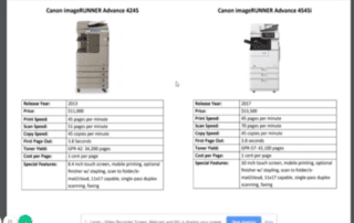 Comparable Features of Canon ImageRunner Advance 4245 and HP LaserJet Enterprise M4555 MFP