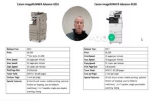 Comparison Canon ImageRunner Advance 4235 HP LaserJet M4555 and M525